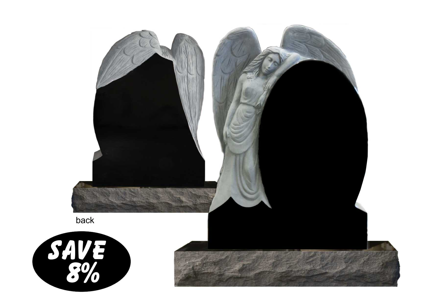2-2 x 0-8 x 3-0 Imported Black all polished with sculpted angel and matching 3-0 x 1-0 x 0-6 polish top base